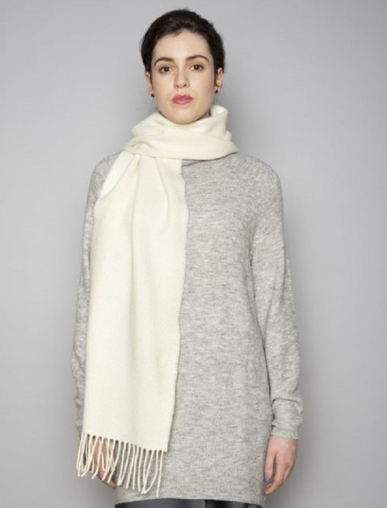 Cashmere Scarf - White Heather Herringbone