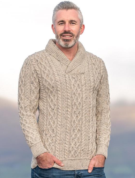 Men's Shawl Collar Aran Sweater - Oatmeal