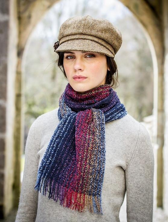Wool Cashmere Skellig Scarf - Multi-Purple & Blue