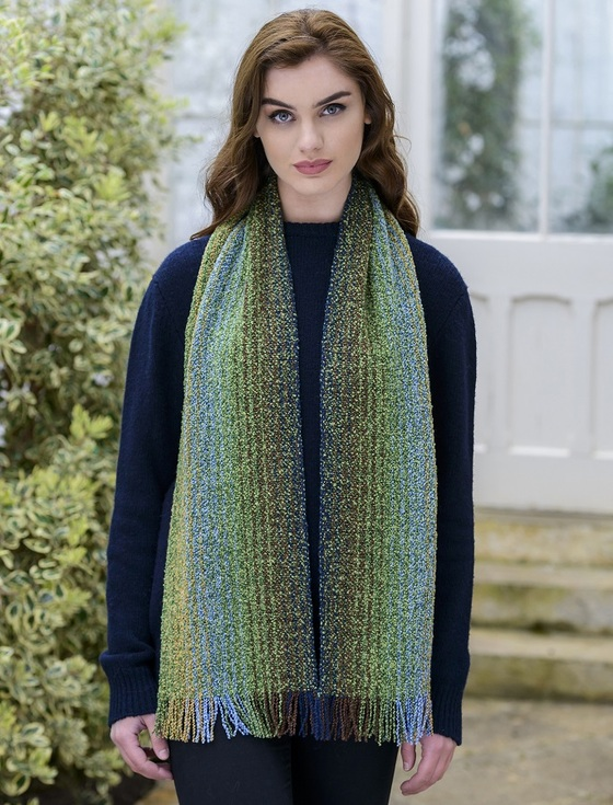 Wool Cashmere Skellig Scarf - Meadow Green Mix