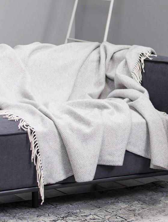 Wool and Cashmere Throw - Light Grey Herringbone