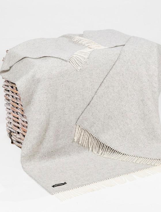 Luxury Cashmere Wool Throw - Grey & Cream Herringbone