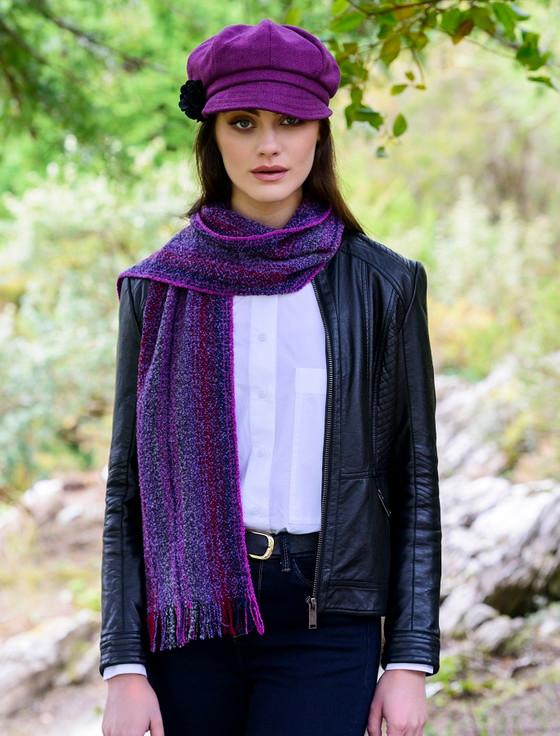 Wool Cashmere Skellig Scarf - Purple Mix