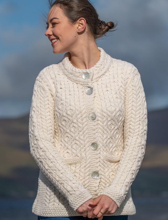 Women's Button Aran Cardigan - Natural White