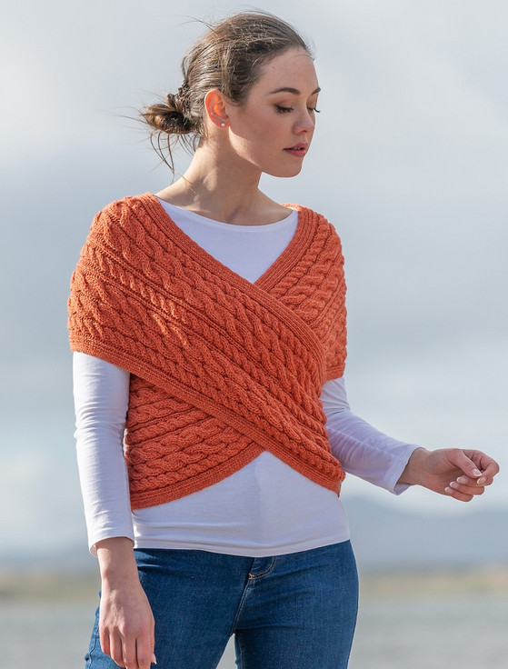 Merino Aran Cable Crossover Wrap with Buttons - Autumn Leaf