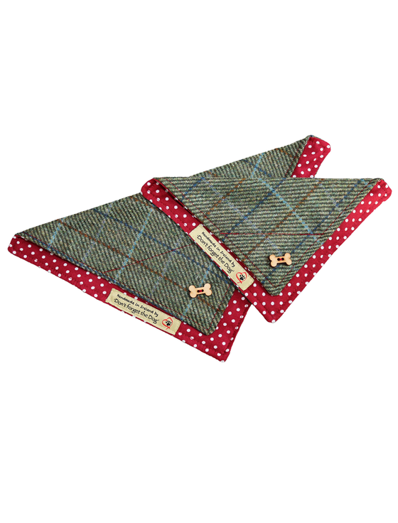 Tweed Doggy Neckerchief Bandana - Two-Tone Green & Red