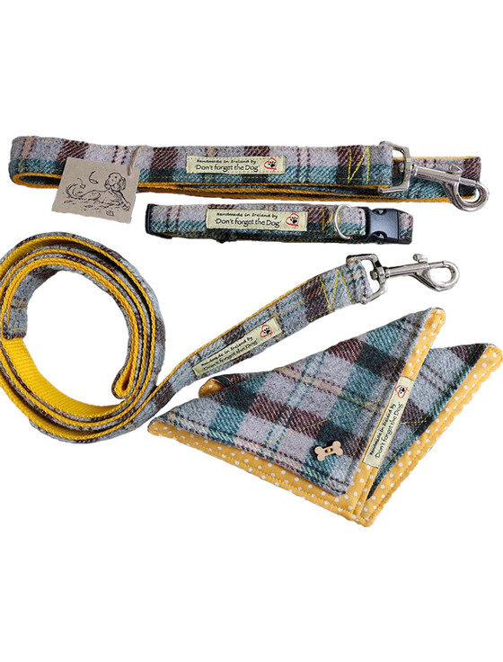 Tweed Wool Dog Lead - Yellow & Green Plaid