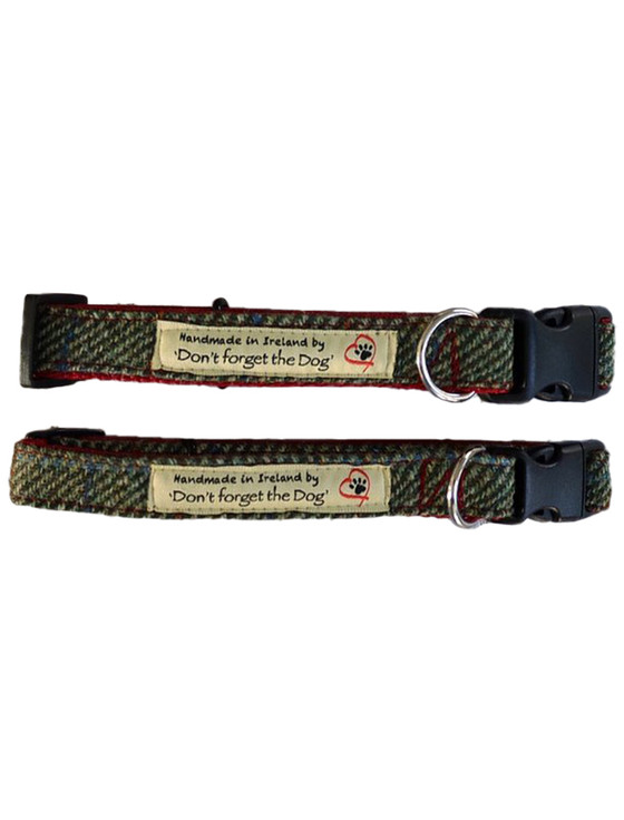 Tweed Dog Collar Plastic Buckle - Two Tone Green & Red