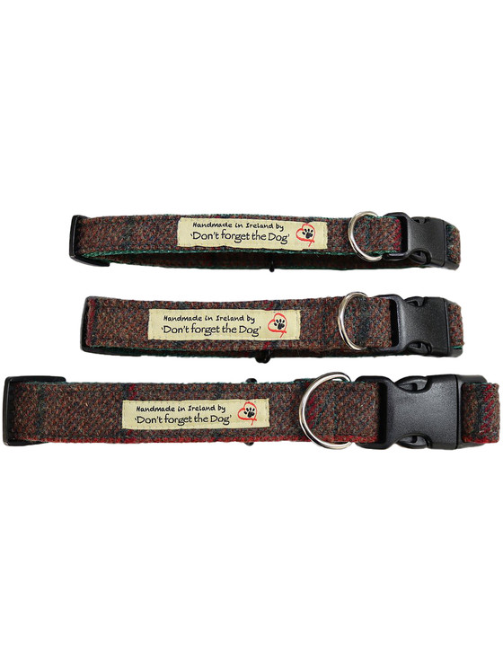 Tweed Dog Collar Plastic Buckle - Brown & Green Plaid
