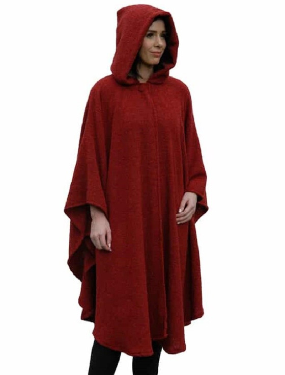Tara Cashmere Blend Hooded Cape - Christmas Red