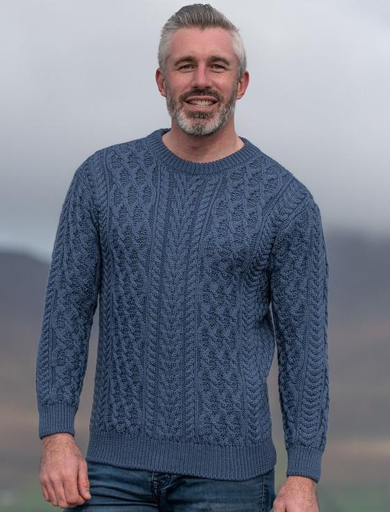 Men's Crew Neck Aran Sweater - Blue Steel