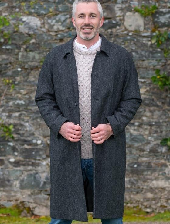 Sean Tweed Over-Coat - Grey Herringbone
