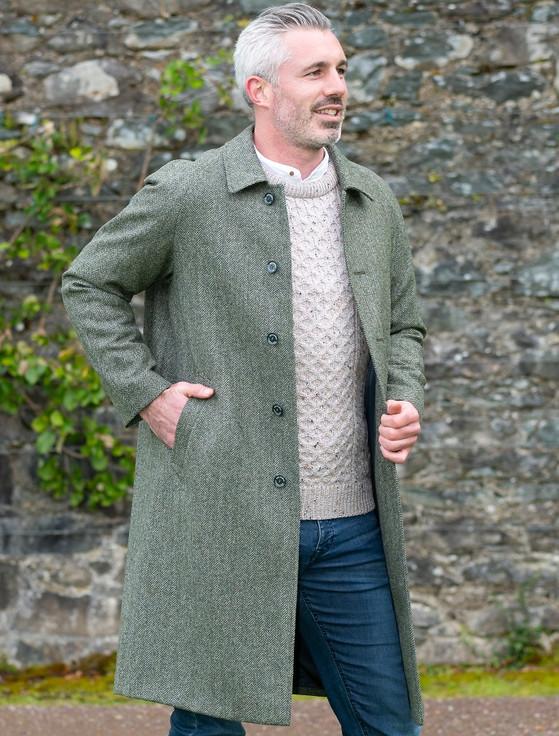 Sean Tweed Overcoat - Olive Herringbone