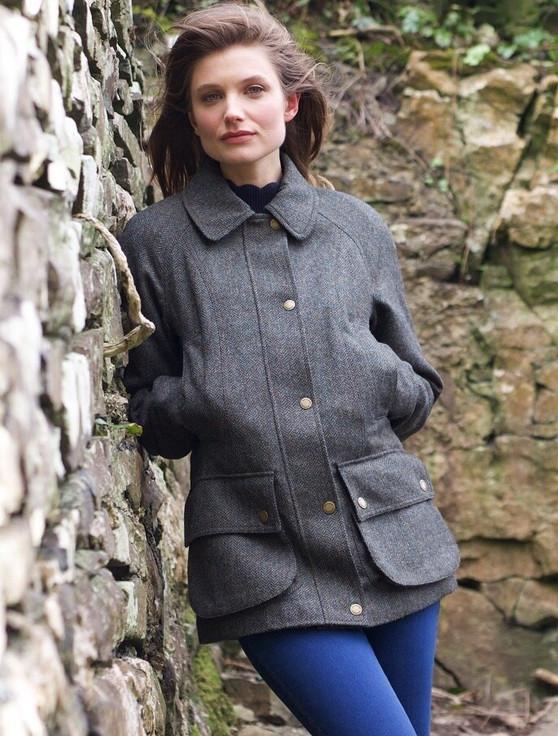 Nuala Tweed Field Coat - Olive Teal Herringbone