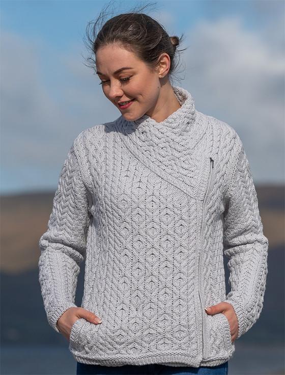 Women's Aran Jacket With Side Zip - Dove Grey