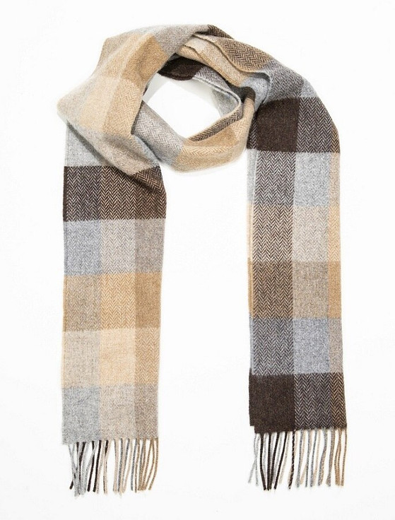 Narrow Lambswool Checked Scarf -Beige Brown & Grey Plaid