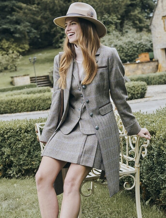 Blackthorn Ladies 3/4 Tweed Coat- Woodrose