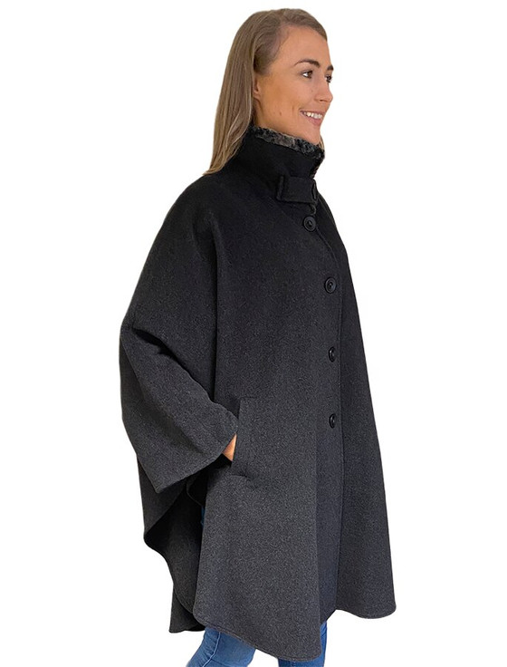 Cashmere Wool Cape With Faux Fur Collar - Charcoal