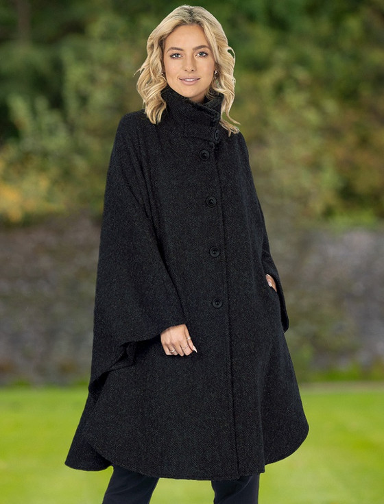 Cashmere Wool Cape With Faux Fur Collar