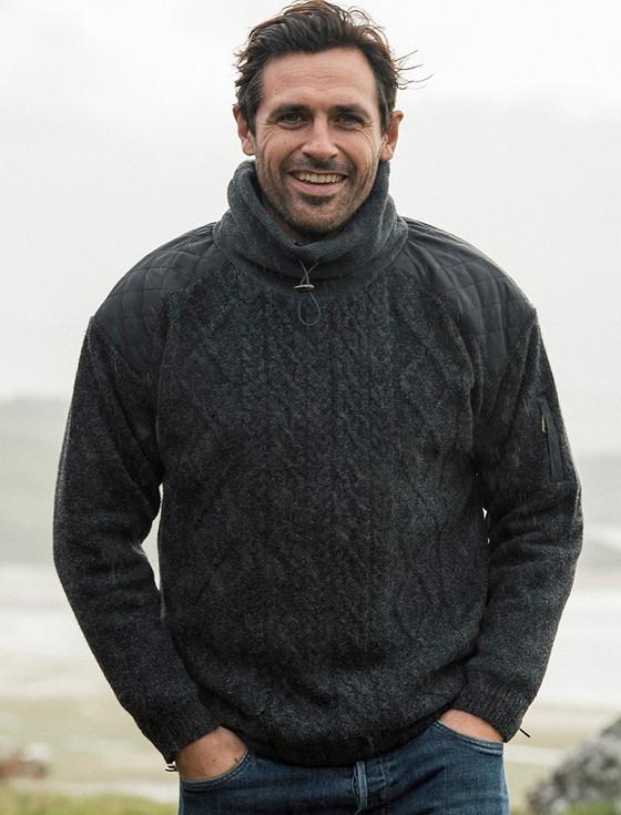 Men's Aran Diamond Draw-String Sweater - Charcoal