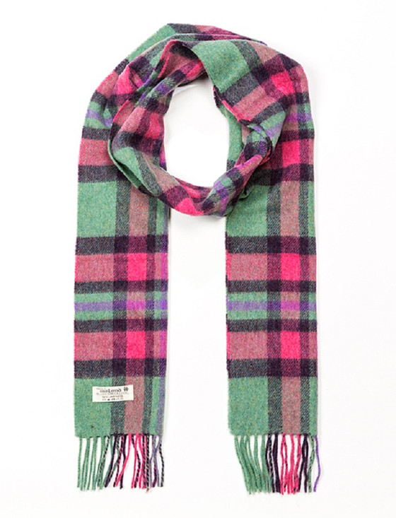 Lambswool Checked Scarf - Mint Green & Pink