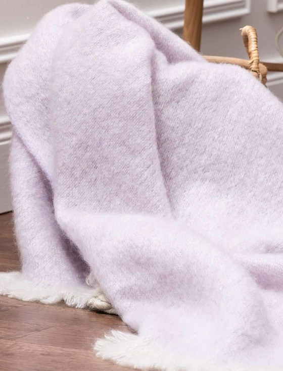 Mohair Throw - Heather & White