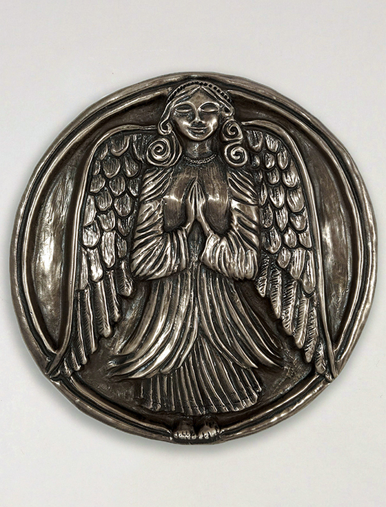 Irish Bronze Guardian Angel Wall Plaque