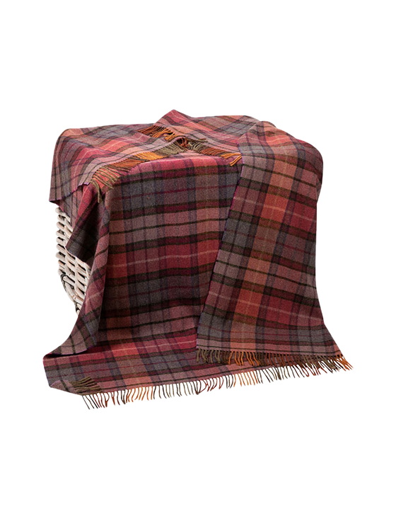 Lambswool Throw - Mulberry Plaid