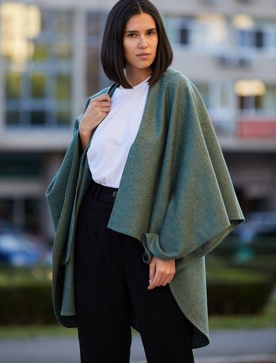 Donegal Tweed Wrap - Mint Herringbone
