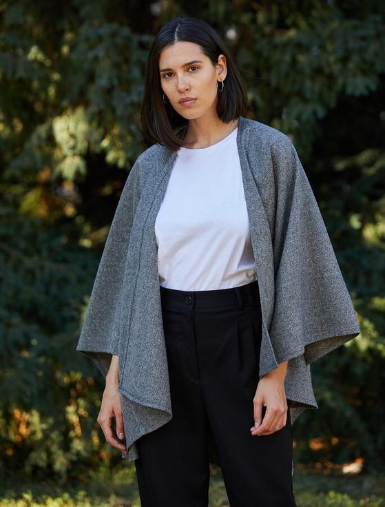 Donegal Tweed Wrap - Grey Herringbone