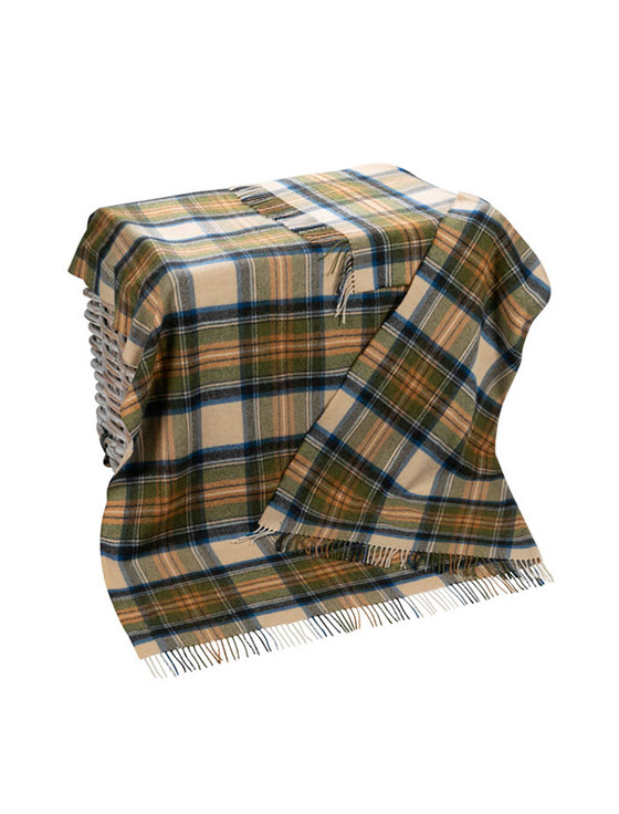Lambswool Plaid Throw - Beige Green & Blue Plaid