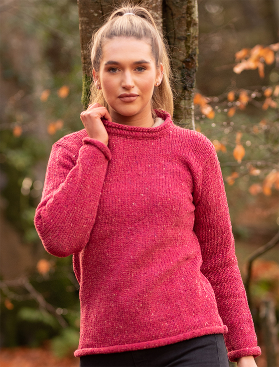 Ladies Roll Neck Sweater - Pink