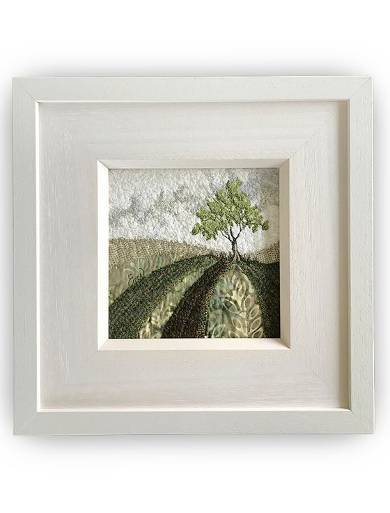Framed Original Tweed Embroidery - Moss Hill - Small