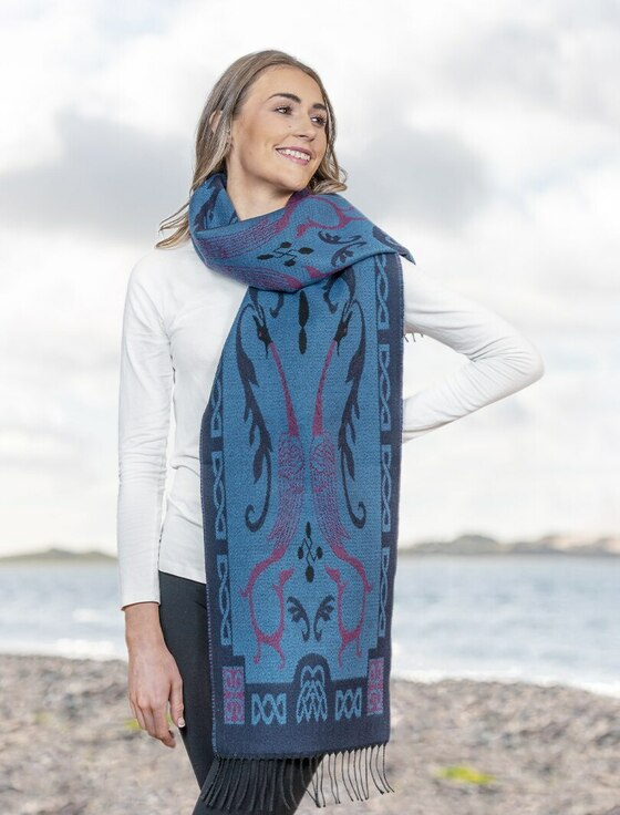 Book Of Kells Celtic Scarf - Blue