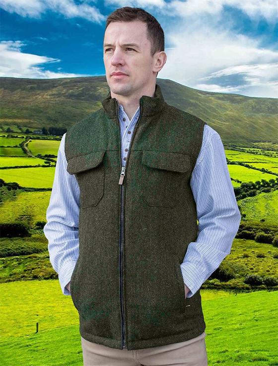 Brian Irish Wool Tweed Bodywarmer - Olive