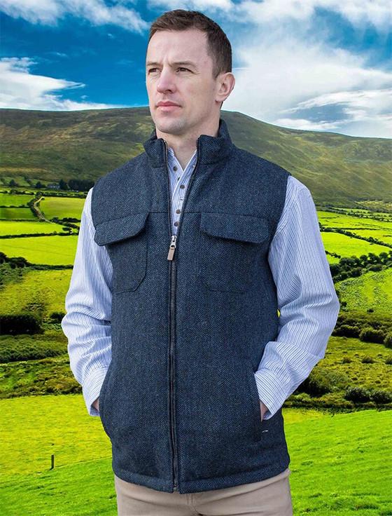 Brian Irish Wool Tweed Bodywarmer - Navy