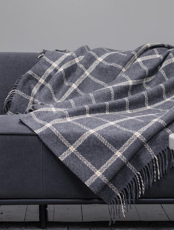 Wool and Cashmere Throw - Grey & Bone Windowpane