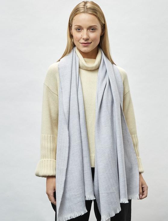 Cashmere Wool Stole - White, Pearl & Grey Herringbone
