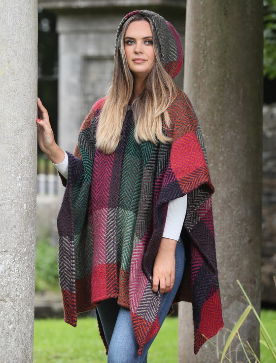 Sarah Hooded One Button Cape - Multi-Mulberry