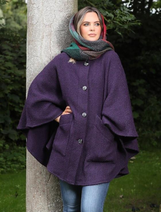Tina Hooded Swing Cape - Killybegs Grape