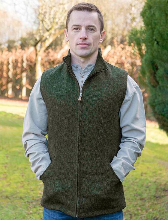 James Wool Tweed Bodywarmer - Olive