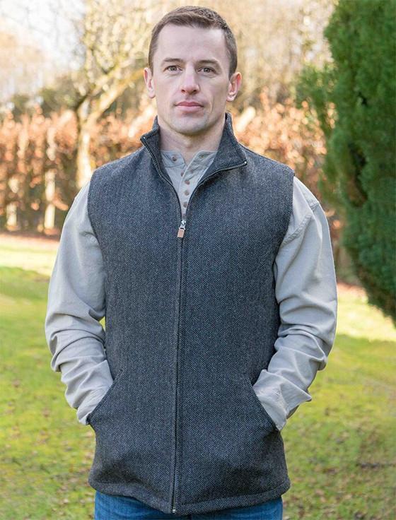 James Wool Tweed Bodywarmer - Grey