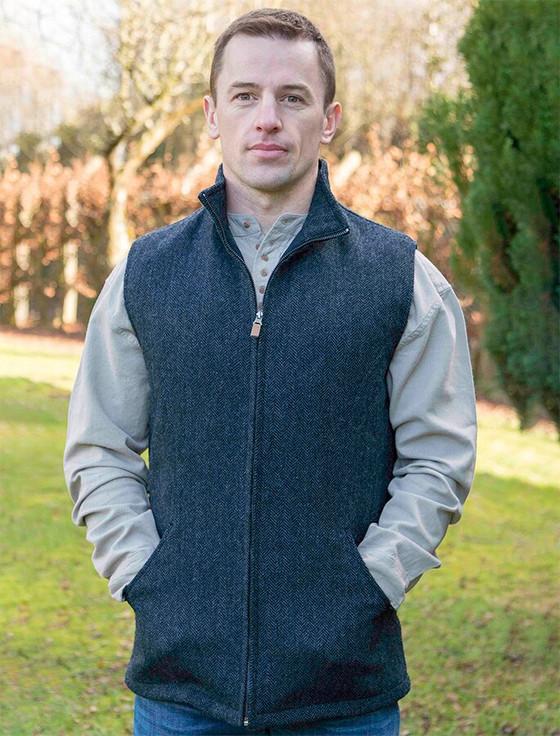James Wool Tweed Bodywarmer - Navy