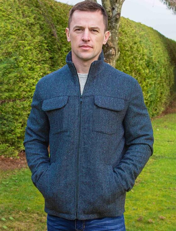 Skellig Wool Tweed Walking Jacket - Navy