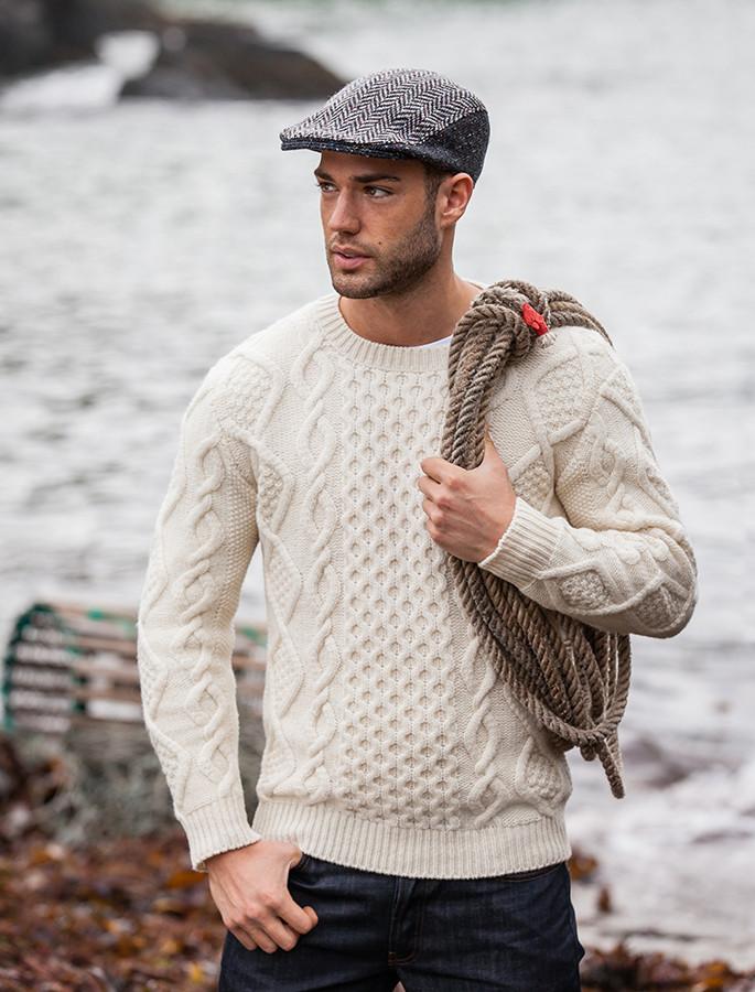 traditional irish clothing sweater named as aran sweater or fisherman sweater