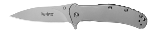 The Zing SS is a value priced, EDC knife with a clean look and lots of style. The blade is high-quality 8Cr13MoV stainless steel, heat treated to Kershaw specifications to bring out the very best in the steel—strength, hardness, and the ability to take and hold a sharp edge. The Zing has a modified drop-point blade which offers superior slicing and utility capabilities. Kershaw's patented SpeedSafe assisted opening rounds out this amazing blade.  A value-priced EDC with style Quality 8Cr13MoV blade steel; bead-blasted finish provides matte finish Bead-blasted steel, contoured, and with a textured backspacer for enhanced grip Easy, quick opening with SpeedSafe® assisted opening with flipper or thumb stud FEATURES + DETAILS UseEveryday TypeAssisted, Folder StylePocketknife DesignerRJ Martin Blade StyleDrop Point Blade EdgePlain Opening ActionAssisted SpeedSafe® Opens WithFlipper, Thumb stud Lock TypeFrame lock Pocketclip3-position (right/left, tip-up; right, tip-down) Handle ColorSilver Sheath– Country of OriginUSA: Design, Prototype, Quality Control. China: Manufacture WarrantyLimited Lifetime Warranty