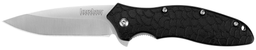 """The Oso Sweet features a classic drop-point blade that gives you maximum workaday utility without carrying a heavy blade. The styling and features of the knife make it an easily noticed blade. The Oso Sweet is one of Kershaw's most popular knives. Get your hand around one and you will see why.  A do-it-all pocket knife that's a simple and effective Everyday Carry Quality 8Cr13MoV blade steel; attractive machine satin finish Durable glass-filled nylon handle with unique """"scale"""" pattern for enhanced grip Easy, quick opening with SpeedSafe® assisted opening FEATURES + DETAILS UseEveryday TypeAssisted, Folder StylePocketknife DesignerKen Onion Blade StyleDrop Point Blade EdgePlain Opening ActionAssisted SpeedSafe® Opens WithFlipper Lock TypeLiner lock PocketclipReversible (right, tip-up; left, tip-down) Handle ColorBlack HardwareGlass-filled nylon backspacer, steel screws Sheath– Country of OriginUSA: Design, Prototype, Quality Control. China: Manufacture WarrantyLimited Lifetime Warranty"""
