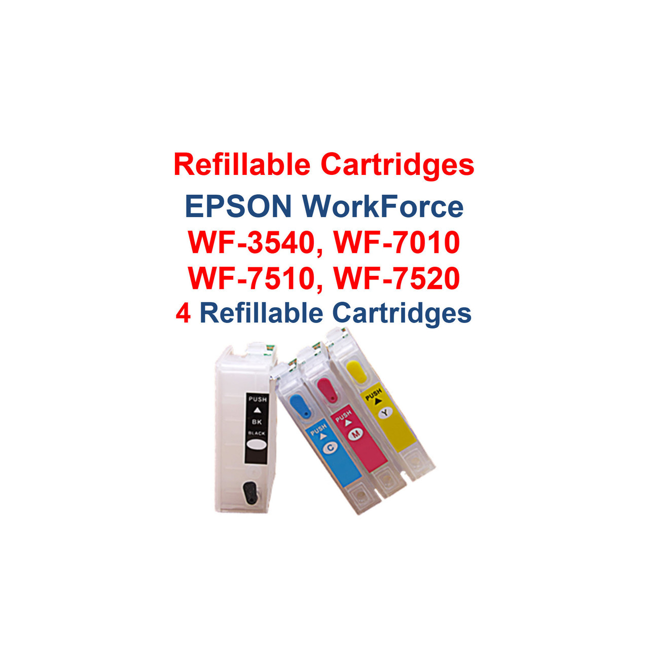 Refillable Ink Cartridges with auto reset chips for Epson WorkForce models:  WF-3540 printer  WF-7010 printer  WF-7510 printer  WF-7520 printer   Package includes: 4 - Refillable Ink Cartridges with auto reset chips   Compatible with OEM cartridges:  T127120  T127220  T127320  T127420 and 4 - Syringes for filling cartridges  Our Refillable Cartridges have a Auto Reset Chip installed on them, no chip re-setter is needed   >>> Los Angeles same day delivery available (Contact us for pricing) <<<