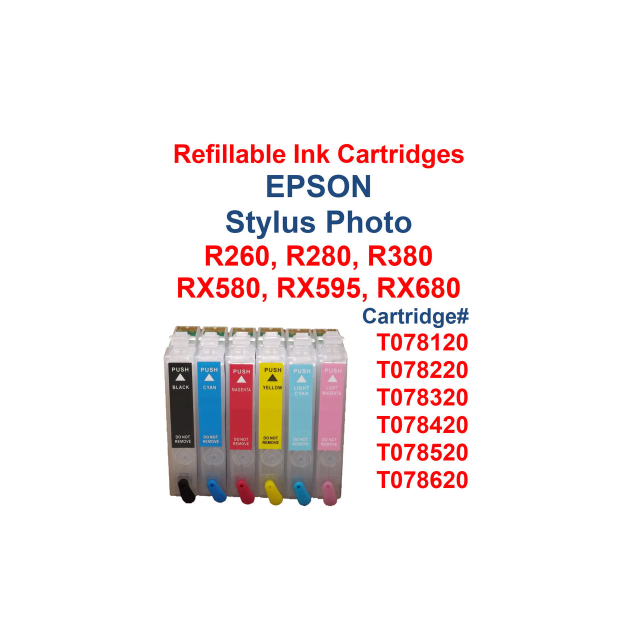 6- Refillable Ink Cartridges with auto reset chips for Epson Stylus Photo R260 R280 R380 RX580 RX595 RX680 printers  Cartridges work with printers: Epson Stylus Photo R260 Epson Stylus Photo R280 Epson Stylus Photo R380 Epson Stylus Photo RX580 Epson Stylus Photo RX595 Epson Stylus Photo RX680  Package includes  6 Refillable Ink Cartridges with auto reset chips installed   6 Syringes for filling cartridges  >>> Los Angeles same day delivery available (Contact us for pricing) <<<