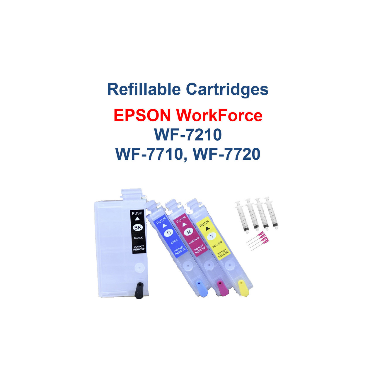 Refillable Ink Cartridges with auto reset chips for Epson WorkForce WF-7210 WF-7710 WF-7720 printers  >>> Los Angeles same day delivery available (Contact us for pricing) <<<  Package includes:  4- Refillable Ink Cartridges with auto reset chips  4- Syringes for filling cartridges  >> Our Refillable Cartridges have a Auto Reset Chip installed on them, no chip Resetter is needed